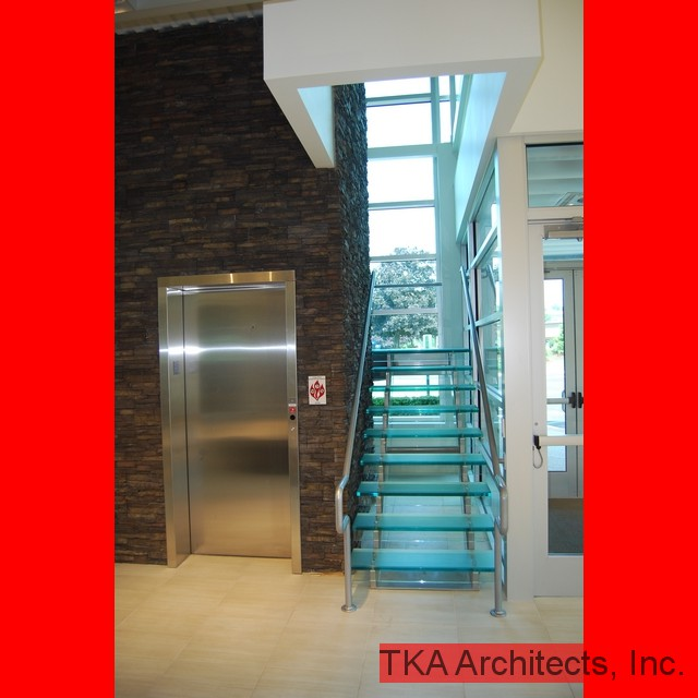 Glass Stairs & Stone Wall